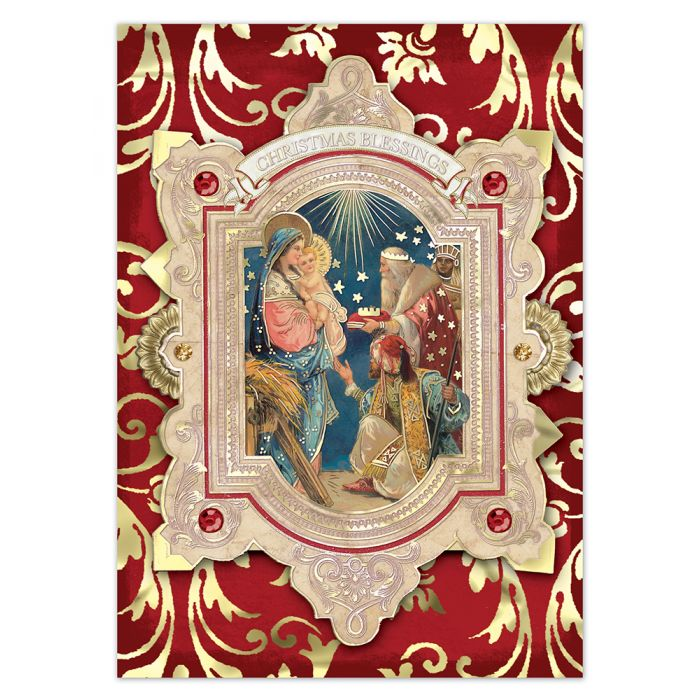 Boxed Christmas Cards.Christmas Blessings Embellished Boxed Christmas Cards