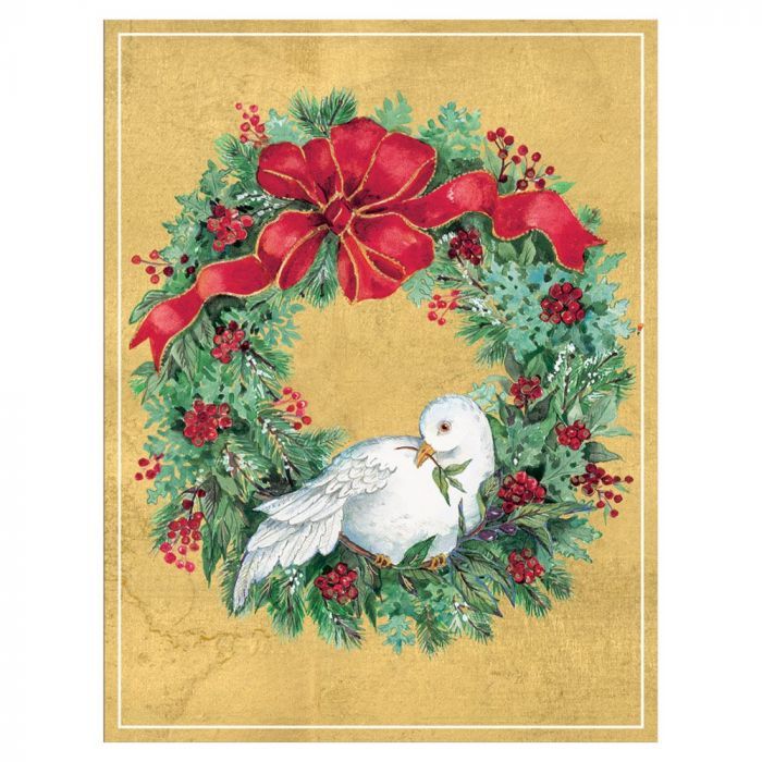Unique Boxed Christmas Cards.Wreath With Dove Boxed Christmas Cards