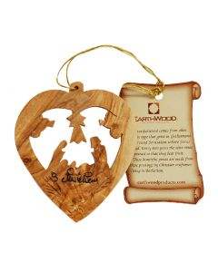 "Olive Wood ""Heart with Nativity"" Ornament"