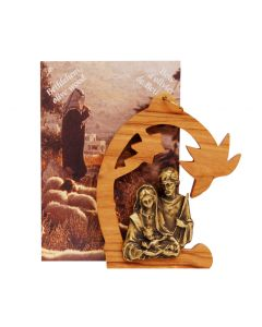 Holy Family Olive Wood and Pewter Ornament