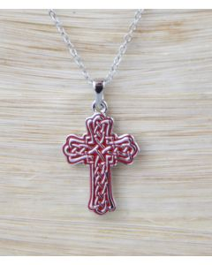 Solvar Red Weave Cross Necklace