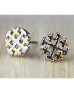 Solvar Jerusalem Cross Stud Earrings