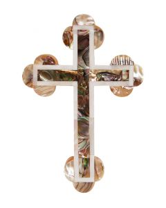 Olive Wood Cross with Mother of Pearl Inlay