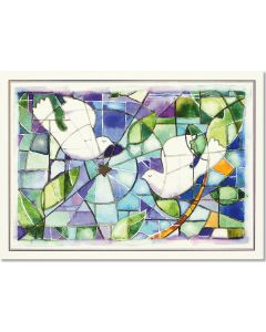 ''Stained Glass Doves'' Deluxe Holiday Boxed Cards