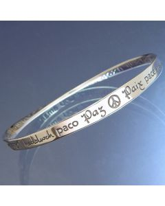 ''Peace In 40 Languages'' Sterling Silver Bracelet