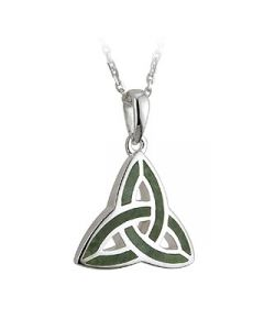 Sterling Silver and Marble Trinity Knot Necklace