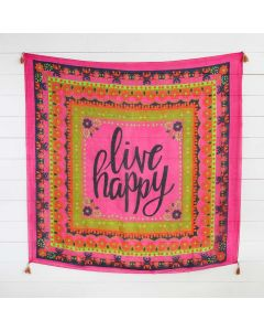 Silk Tapestry Scarf - Live Happy