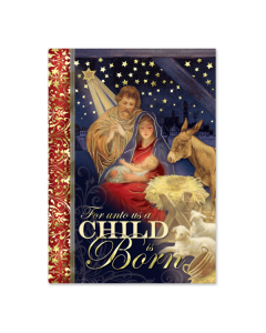Starry Night Nativity Embellished Christmas Cards