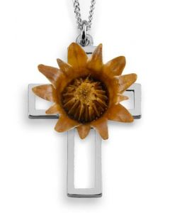 The Blessing Flower - Sterling Silver Cross Pendant